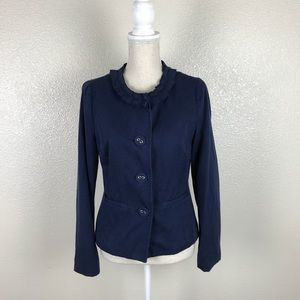 Boden Cotton Twill Crew Neck Navy Blazer Jacket